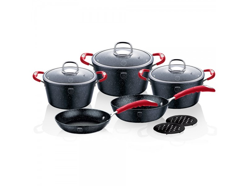 Set oale si tigai marmorate (10 piese) din aluminiu forjat Gray Stone Touch Line Black Edition Berlinger Haus, BH1166N